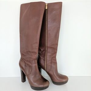 Michael Kors Brown Leather Boots Shoes Size 6.5